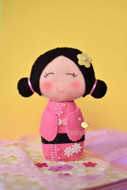 Kokeshi doll, muñeca japonesa en fieltro