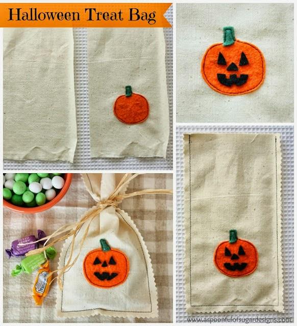 Tutorial paso a paso, cómo hacer un saco con calabaza de fieltro para Halloween