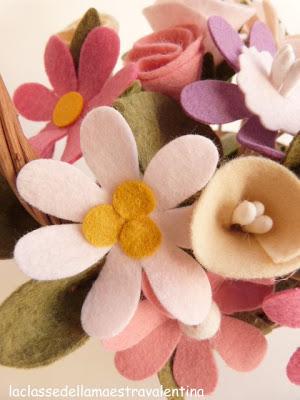 Manualidades de fieltro, ramo de flores