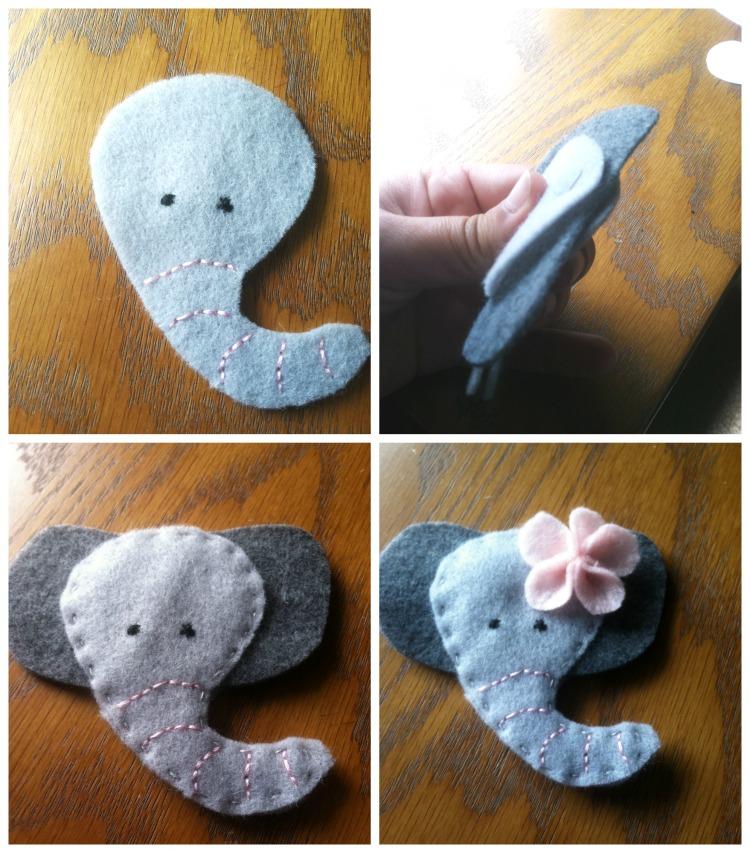 Broche de fieltro, una elefantita muy graciosa! Tutorial paso a paso