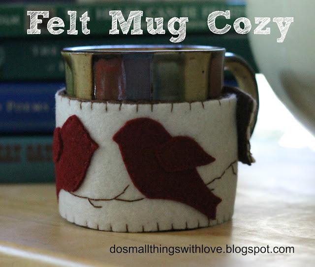 Funda para taza de café con pájaros de fieltro
