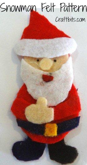 Broche de Papa Noel de fieltro con plantilla para descargar gratis