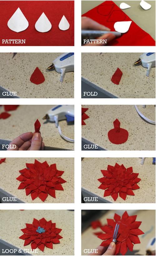 Cómo hacer paso a paso la flor de Navidad en fieltro (Poinsettia)