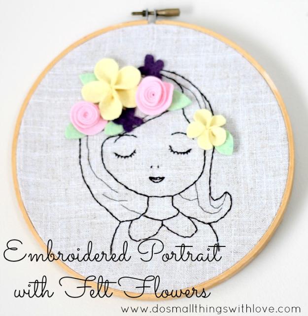 Retrato bordado con flores de fieltro en la cabeza, paso a paso