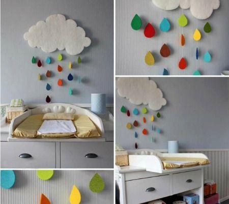 Móvil de fieltro con nubes y gotas de colores, ideal para decorar habitación infantil