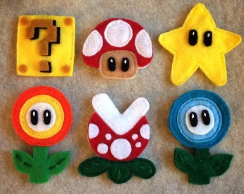 Imanes para la nevera  de fieltro con la forma de los personajes de Mario Bros