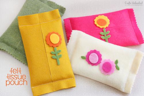 Bonita funda para pañuelos hecha en fieltro