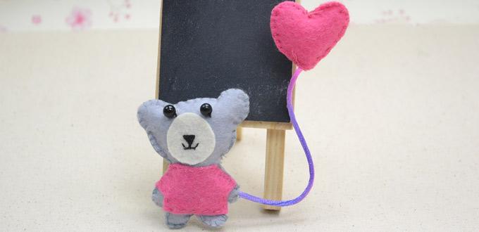 Tutorial aprender broche fieltro oso y y globo corazón 1