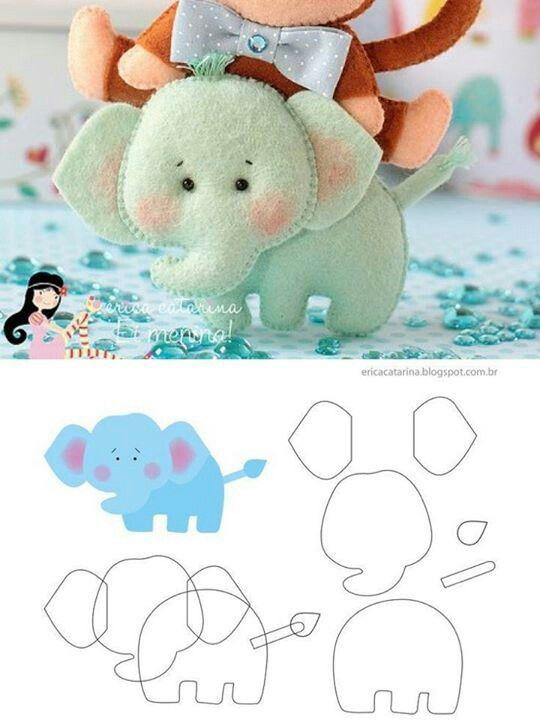 Broche de fieltro con forma elefante con patrón para descargar gratis