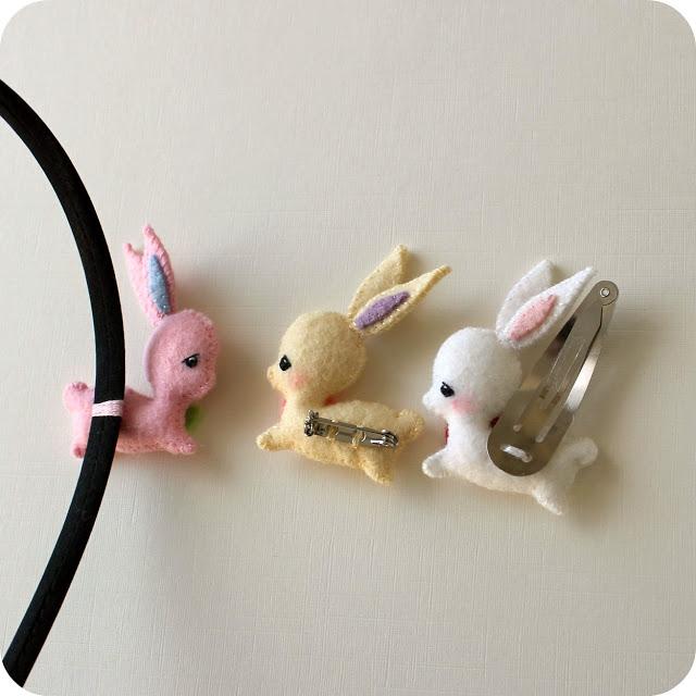Tutorial broche o adorno pelo forma conejo, paso a paso 3
