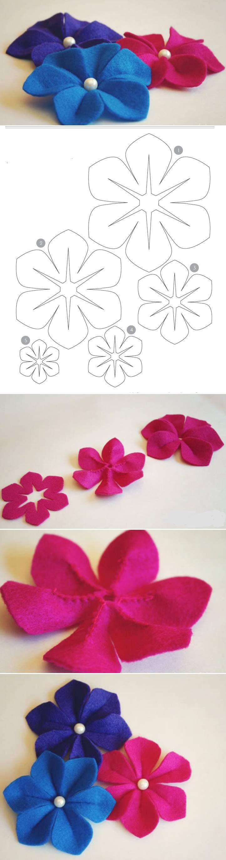 Tutorial y patrón para hacer flor de fieltro