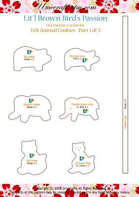 Galletitas con formas de animales hechas de fieltro, paso a paso