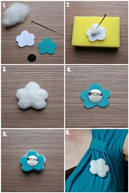 Cómo hacer un broche de fieltro y de guata con forma de nube