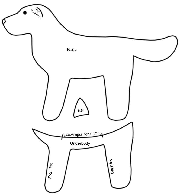 Patrón para hacer un peluche en fieltro con forma de perro