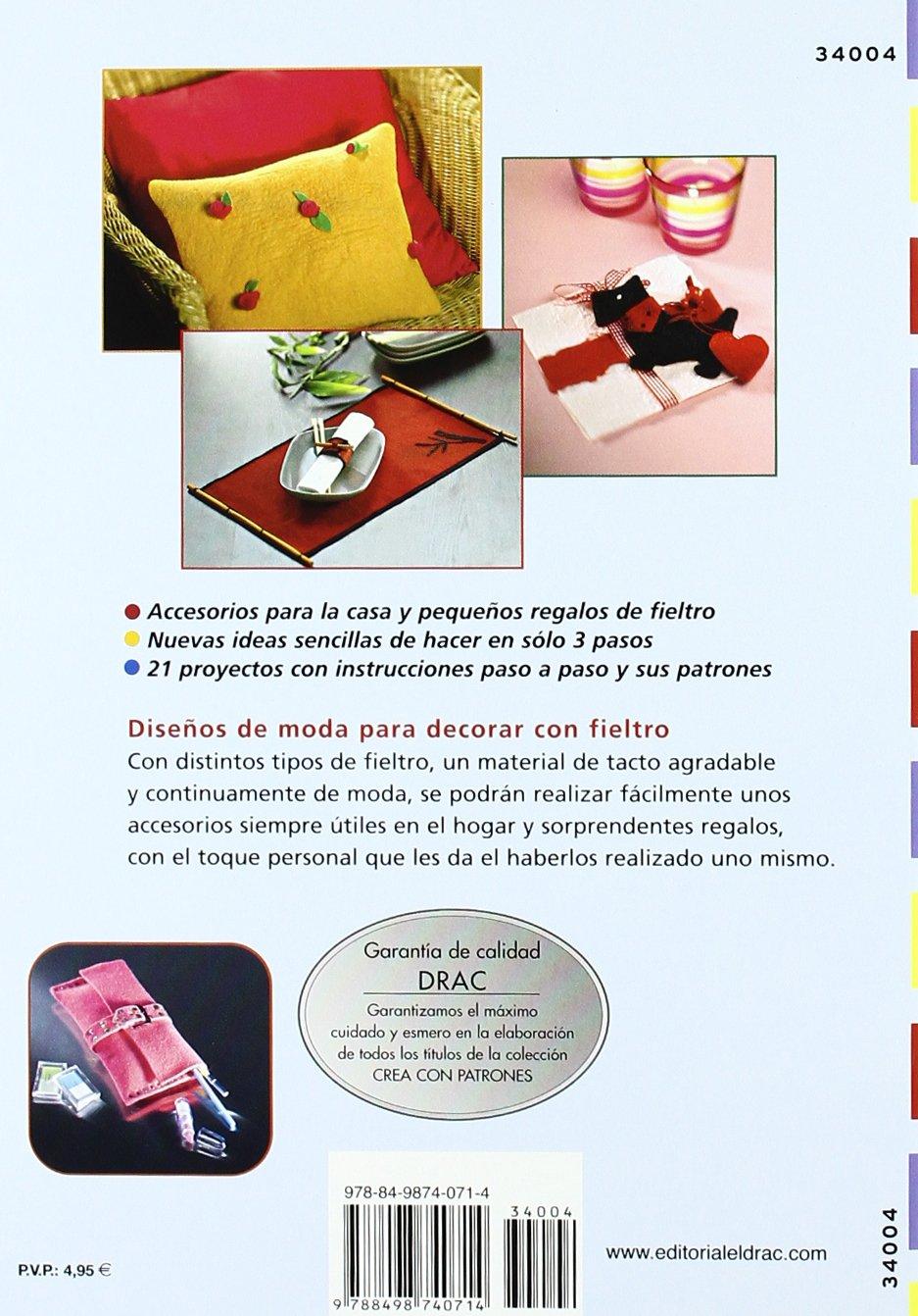 Complementos y adornos fáciles para casa con fieltro, libro con patrones por sólo 4'90€