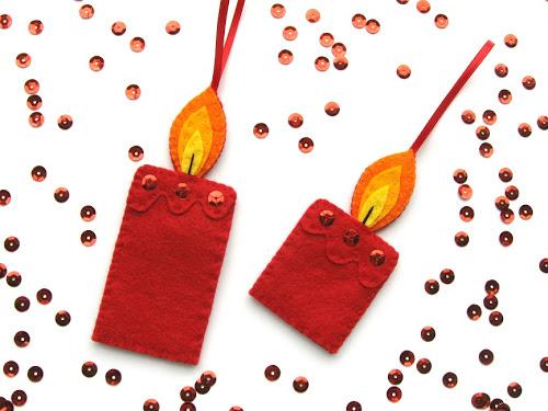 Velas de fieltro para decorar el árbol de Navidad
