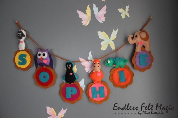 Nombre Sophie con las letras de fieltro, preciosa decoración DIY para dormitorio infantil