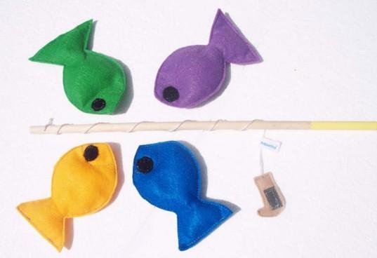 Pececitos de fieltro con caña de pescar, juego para niños y niñas DIY
