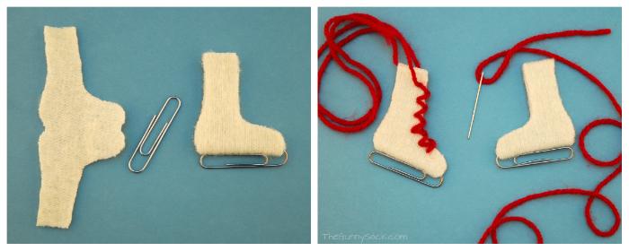 Patines de hielo hechos con fieltro, clips e hilo, tutorial paso a paso