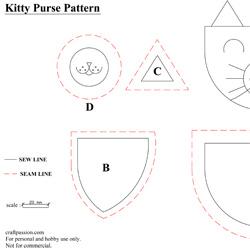 Descargar patrón para hacer un monedero de fieltro con forma de gato