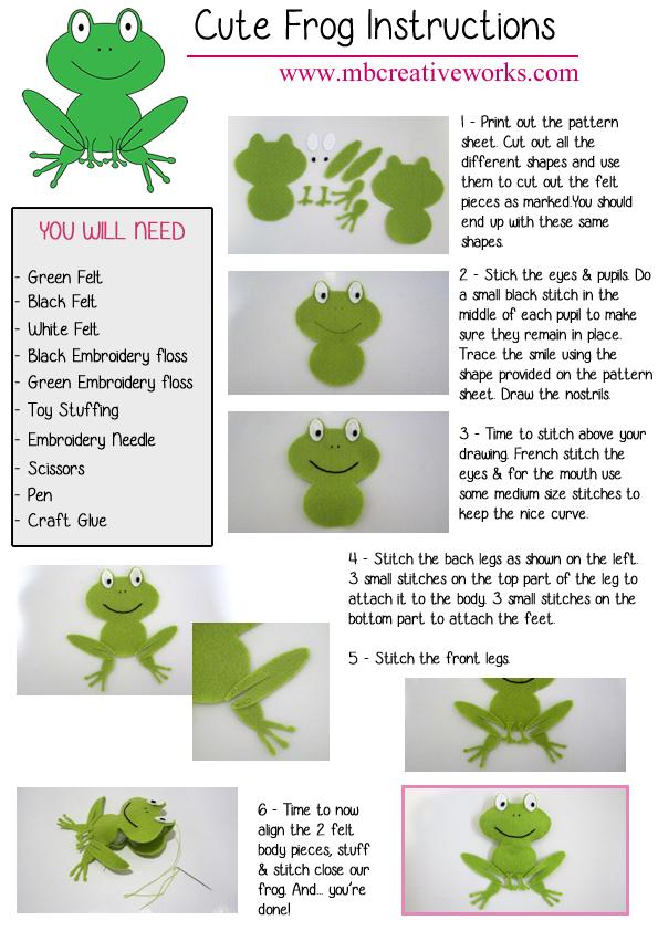 Patrón gratis para hacer una rana de fieltro con instrucciones