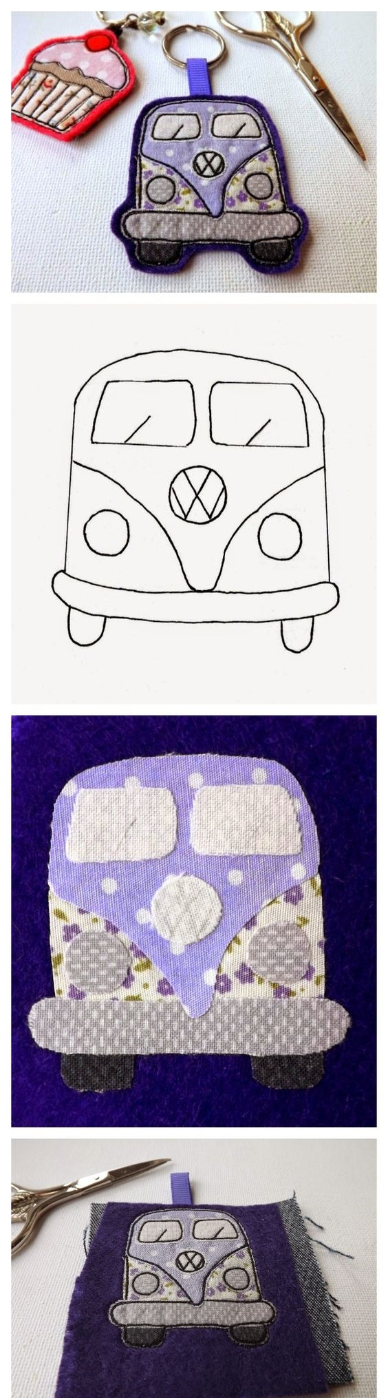 Llavero de fieltro, furgoneta Volskwagen Vanette con patrón