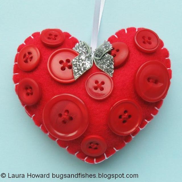Decoración de fieltro para árbol de Navidad, corazón botones