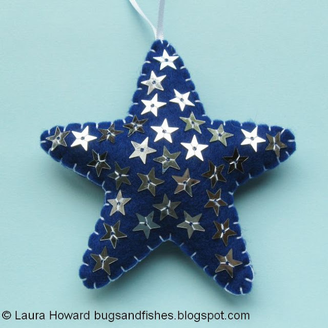 Decoración de fieltro para árbol de Navidad, estrella