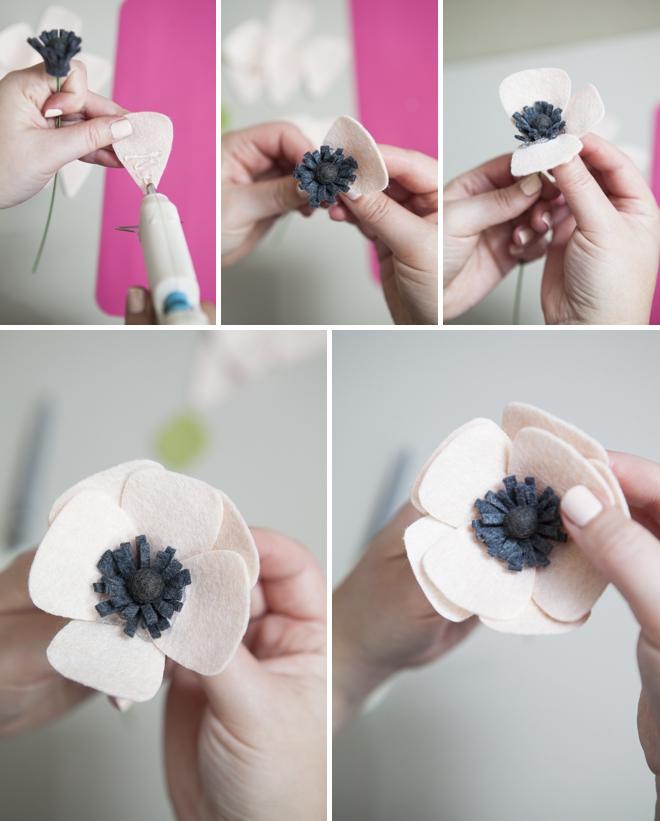 Tutorial DIY flor anémona fieltro, paso a paso 2