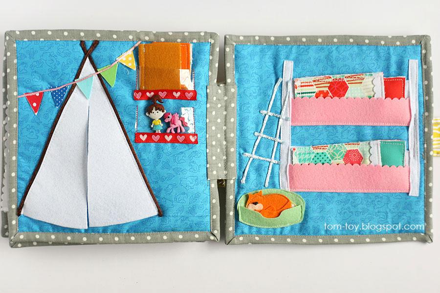 Libro o casa muñecas de fieltro, habitación infantil