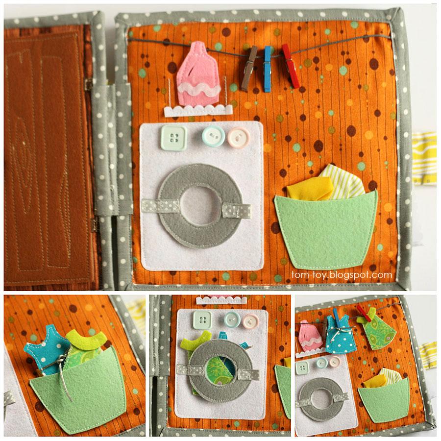 Libro o casa muñecas de fieltro, lavadero 2