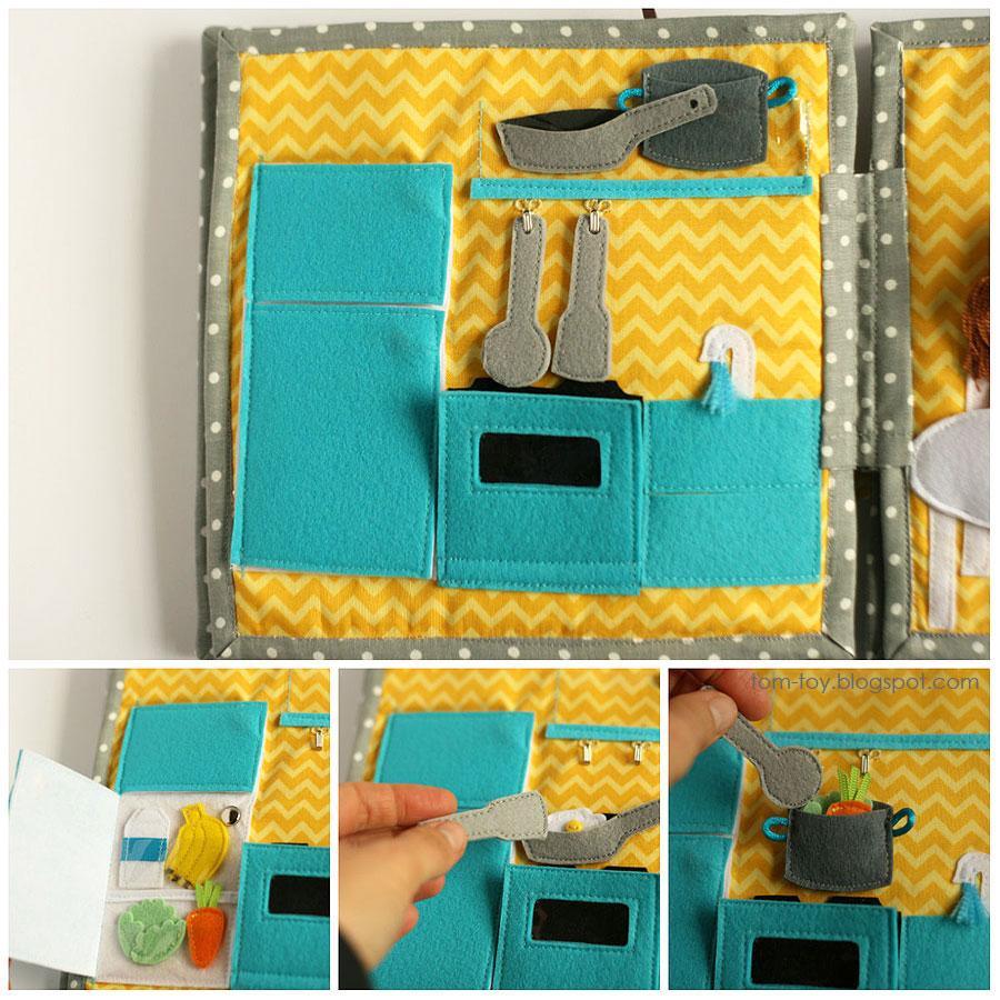 Libro o casa muñecas de fieltro, cocina 2