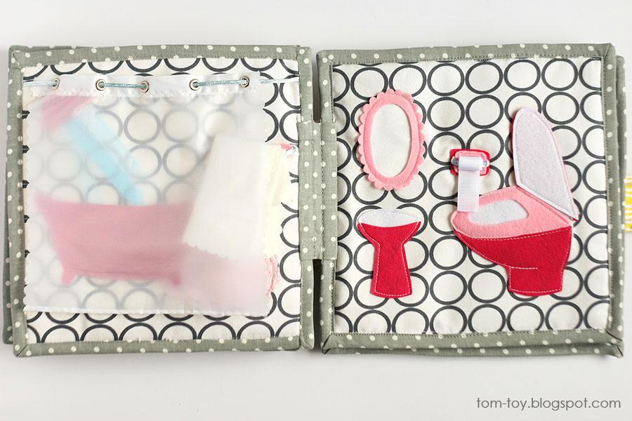 Libro o casa muñecas de fieltro, baño