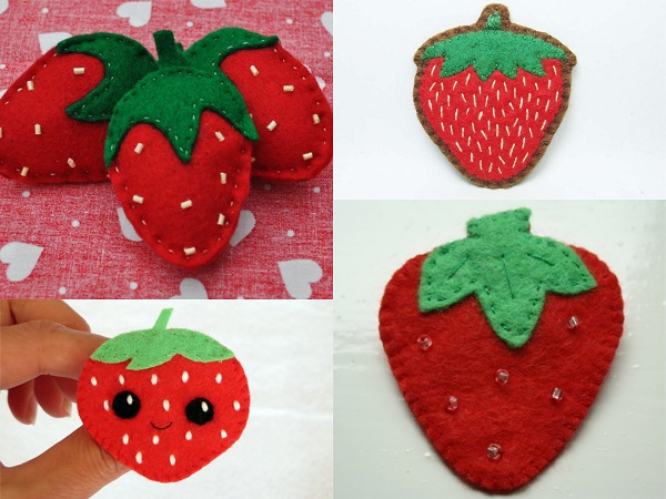 Broches de fieltro de fresas