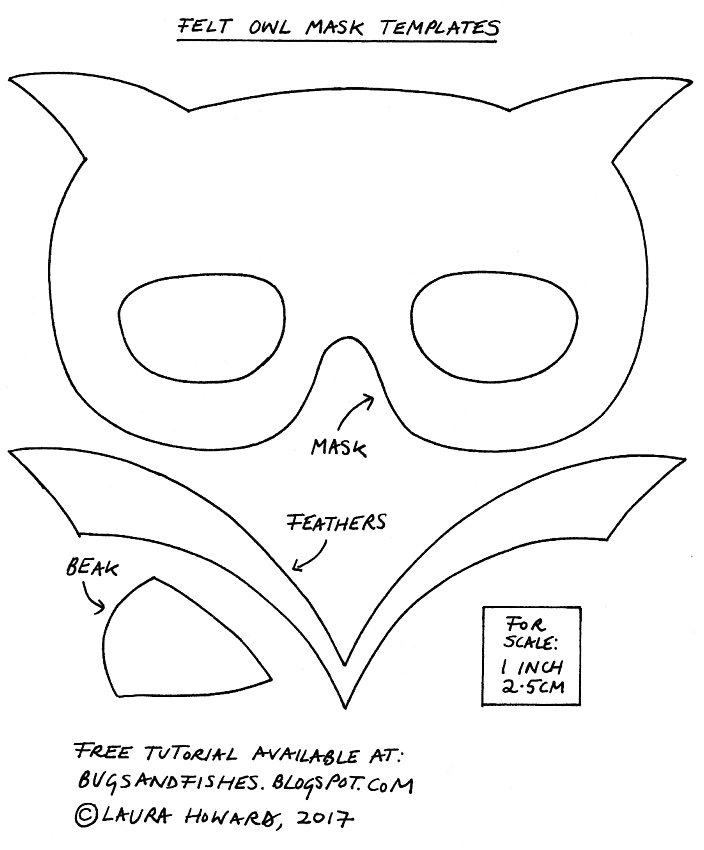 Plantilla máscara fieltro búho Halloween