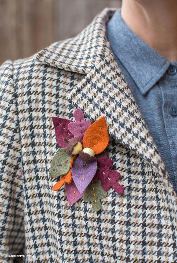 Tutorial broche fieltro hojas otoño 2