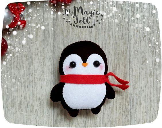 Broche fieltro Navidad pingüino