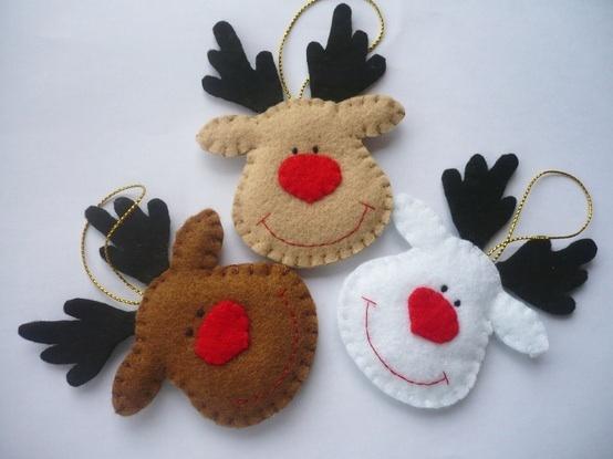 Broche fieltro Navidad renos
