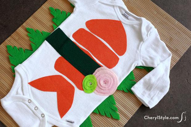Disfraces de fieltro fáciles para Carnaval, sushi