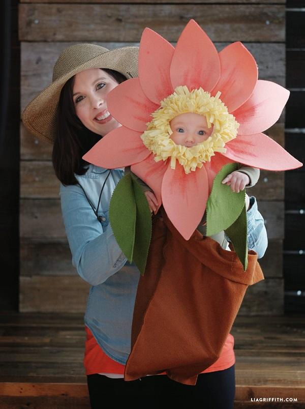 Disfraces de fieltro fáciles para Carnaval, flor