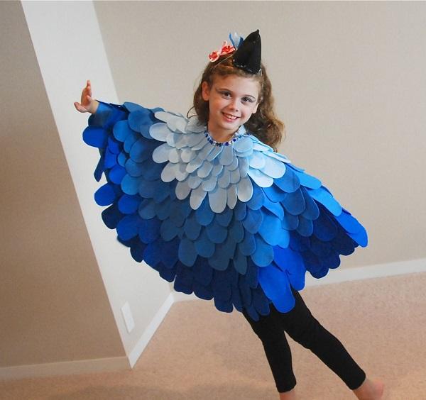 Disfraces de fieltro fáciles para Carnaval, pájaro azul