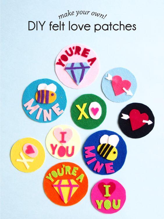 Manualidades de fieltro para San Valentín, parches del amor