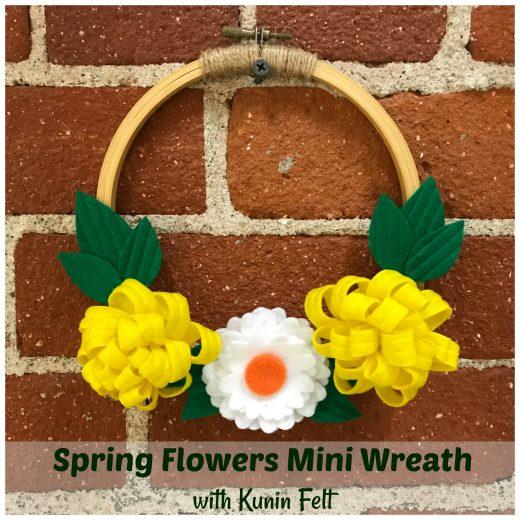 Corona de flores de fieltro para primavera 7
