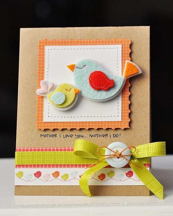 Postales fieltro día de la madre pájaros