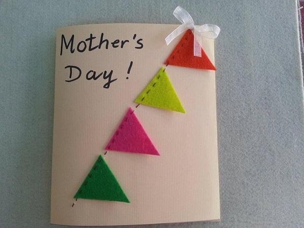 Postales fieltro día de la madre guirnalda