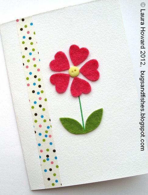 Postales fieltro día de la madre flores 8