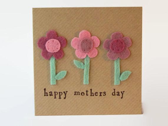 Postales fieltro día de la madre flores 9
