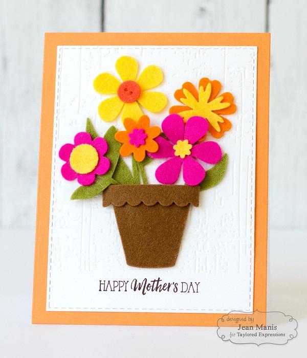 Postales fieltro día de la madre flores