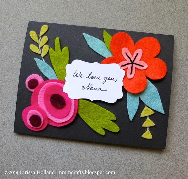Postales fieltro día de la madre flores 2