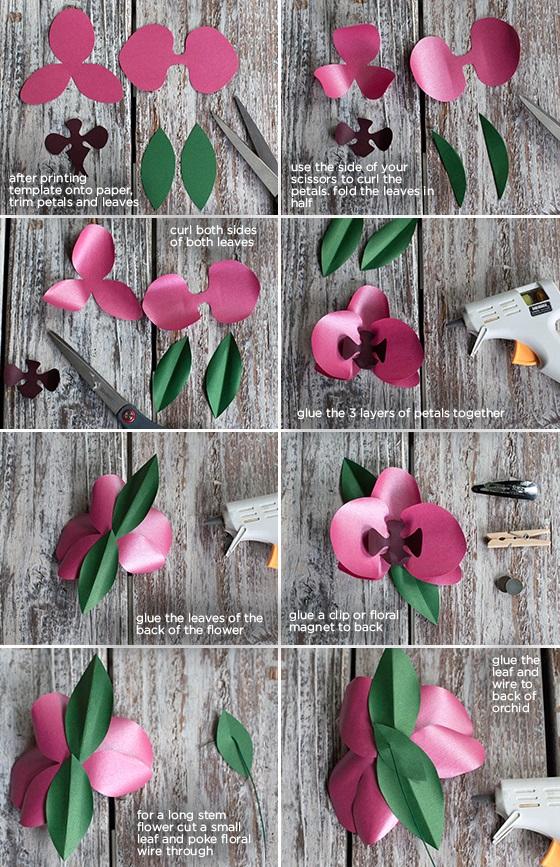 Cómo hacer orquídea de papel para broche paso a paso